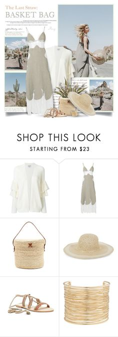 """""""The Last Straw: Basket Bag"""" by thewondersoffashion ❤ liked on Polyvore featuring Essentiel, Off-White, Sensi Studio, COLLECTION 18, Seychelles and Eloquii"""