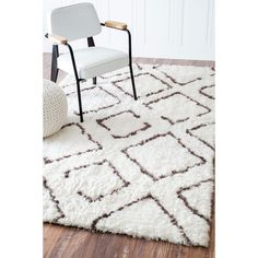 nuLOOM Soft and Plush Moroccan Trellis Ivory Brown Shag Rug (8' x 10'). Polyester. $261.79.