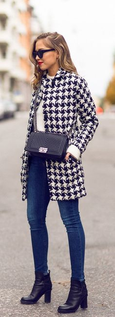 Fall Houndstooth Coat