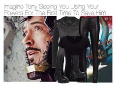 """""""Imagine Tony Seeing You Using Your Powers For The First Time To Save Him"""" by xdr-bieberx ❤ liked on Polyvore"""