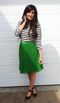 Green pleats with stripes.