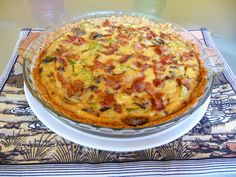 BACON, BROCCOLI, MUSHROOM AND GOUDA QUICHE  (note to self:  switch gouda for a different cheese; mushroom optional)