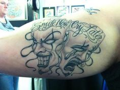 Smile Now Cry Later on Arm - Smile Now Cry Later Tattoos, http://hative.com/smile-now-cry-later-tattoos/,