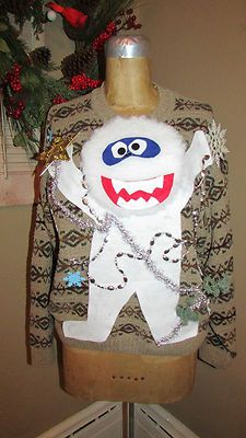 UGLY Christmas Sweater Yeti Snowman Abominable X-Mas sz M<3<3SOLD<3<3
