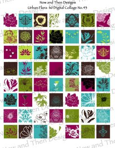 Digital Collage Sheet flowers Inchies pink blue green No.43 Buy 2 get 1 Free