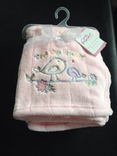 Baby Fleece  Blanket Luxury Embroidered 2 Birds Treetop Friends Pink70x100 New