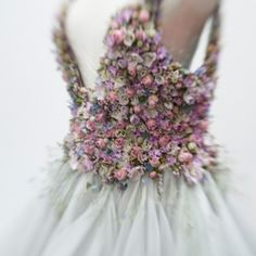 Fresh flower wedding dress bodice by Zita Elze Flowers
