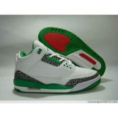 Air Jordan Retro 3 white green grey ❤ liked on Polyvore