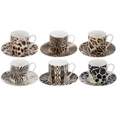 Roberto Cavalli Africa Coffee Cups & Saucers - Set of 6 ($320) ❤ liked on Polyvore featuring home, kitchen & dining, drinkware, brown, bone china, coffee saucer, coffee cup, bone china coffee cups and roberto cavalli