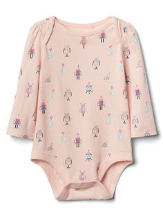 Gap Baby Print Long Sleeve Bodysuit Pink Cameo