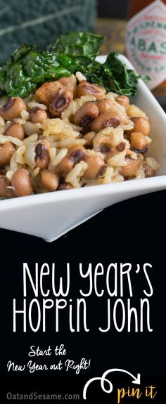 Traditional New Year's Day Hoppin' John - start your year off with a bit of Southern luck! Recipe at OatandSesame.com