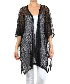 Love this Black Crocheted Open Cardigan on #zulily! #zulilyfinds