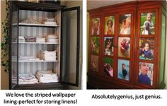 Love the idea of repurposing a china  cabinet for linens. Wallpaper the back and paint the shelves