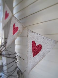 White painted burlap with red glitter hearts- love this banner!