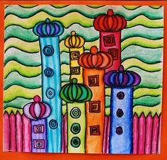 Hundertwasser Landscape Line Design  I love the shading.  Watercolor marker outline and then a wet brush?