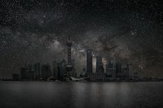 "Shanghai by Thierry Cohen - ""Villes Enteintes"" (Darkened Cities); a photographic series depicting major cities as they would appear at night without light pollution, or how they would look if we could see the stars Thierry Cohen, Clear Night Sky, Dark Night, Technique Photo, Night On Earth, Tokyo, Astronomy Pictures, Concours Photo, Dark City"