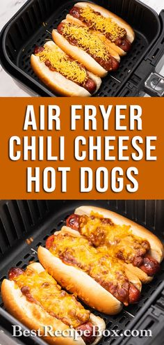 Check out our amazing Air Fryer Chili Cheese Hot Dogs recipe. It's a quick recipe that the whole family will love!