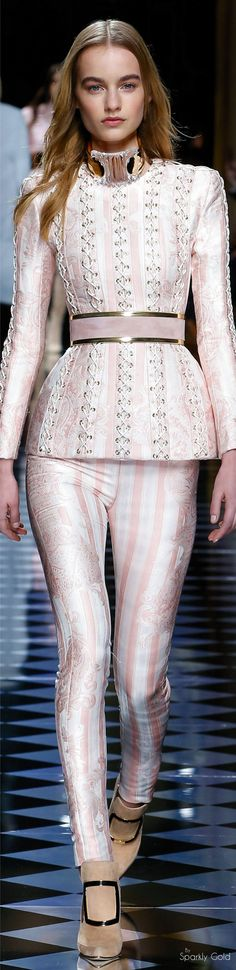 INSPIRATION & TAKE-AWAY: Balmain Fall 2016 RTW. The take-away is, blush with gold metallic and mixed prints. The look in the photo is very much runway, but a real-world spirit would be a thin blush sweater with a gold belt.