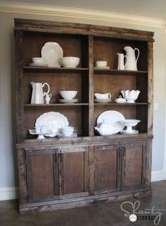 DIY Dining Room Sideboard and Hutch - Restoration Hardware Style :: Hometalk; Free Plans for this at Ana White Furniture Projects, Furniture Plans, Diy Furniture, Painted Furniture, Hutch Furniture, Handmade Furniture, Garden Furniture, Dining Room Sideboard, Wood Sideboard