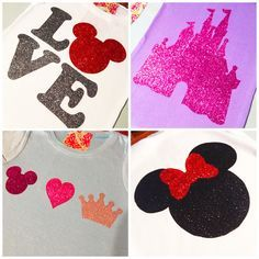 Cut Disney shapes out of glitter iron-on transfer paper for your official Disney vacation outfits.