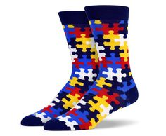 Black Yellow Blue Red Puzzle Socks