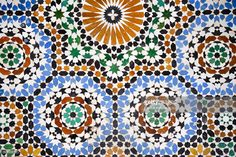 Stock Photo : Colorful tiles on a wall in Fes, Morocco