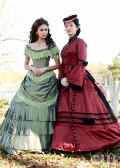 Costumes from The Vampire Diaries.  Pictured: Nina Dobrev as Katherine, Kelly Hu as Pearl.