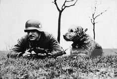 German Soldier In Patrol With His Dog In France On January c. 1940 World War Ii
