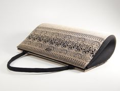 Silver gold and black retro lurex purse with border print, one of a kind handmade handbag, top handl