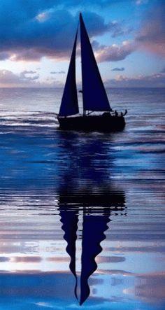 cool blue sail boat