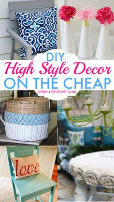 DIY High Style Decor On The Cheap - Oh My Creative. Love the drop cloth rosette stool and candle-ier.