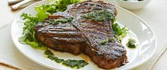 Curtis Stone   Grilled T-Bone Steaks with Chimichurri Sauce