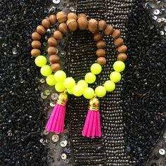 Personalized Photo Charms Compatible with Pandora Bracelets. Harper Neon yellow and wood beaded tassel bracelet - Dibadani Store Neon Bracelets, Tassel Bracelet, Tassel Jewelry, Ankle Bracelets, Beaded Jewelry, Jewelry Bracelets, Handmade Jewelry, Beaded Necklace, Diamond Earrings