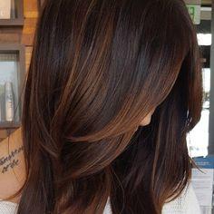 Kurze braune haare mit kupfer strahnen