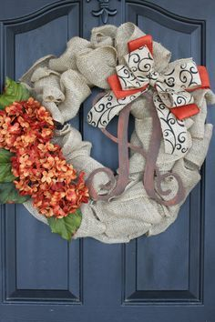 Fall wreath- Monogram Wreaths for door –