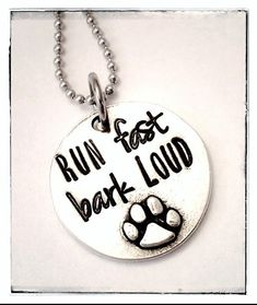 eab3f135 Hand stamped pewter paw print necklace - flyball dog - agility dog - dog  sports - sterling silver box chain