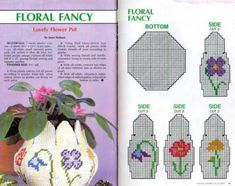 floral fancy planter in plastic canvas cut and stitch according to graph