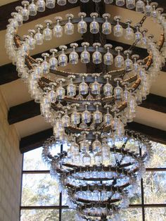 Vineyard chandelier made of wine glasses - Laurance wines, Australia