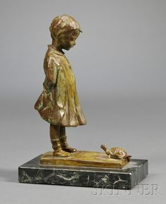 Martha Jackson Cornwell (1865-1955) Bronze Sculpture   Bronze and onyx   Pennsylvania, 1909   Cast of a young girl and a turtle