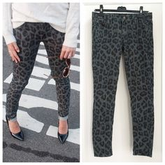 Mother Leopard Print Looker Jeans Mother brand The Looker skinny jeans in a grey and black leopard print. New. Size 28. Mother  Jeans