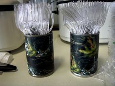 Hunting themed birthday party.  I wrapped cans with camo duct tape.