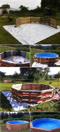 A Beautiful DIY Swimming Pool Created With 10 Pallets Pallet Pool, Backyard Projects, Outdoor Projects, Diy Swimming Pool, Diy Pool, Above Ground Pool, In Ground Pools, Outside Pool, Backyard Creations