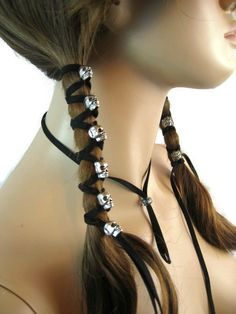 Skull Hair Jewelry Black Leather Hair Ties by Vacationhouse