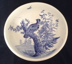 "Antique Copeland Spode Huge 15"" Pottery Bowl Bird Painted The Ashburne C.1878"