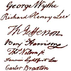 Signers of The Declaration of Independence from Virginia: George Wythe Richard Henry Lee Thomas Jefferson Benjamin Harrison Thomas Nelson Jr. Independence Hall, Declaration Of Independence, Lee Thomas, Thomas Jefferson, Richard Henry Lee, Benjamin Harrison, My Ancestry, Kingdom Of Great Britain