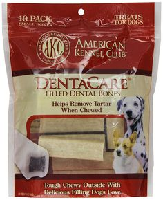 American Kennel Club 10 Count Filled Bone DentaCare Dog Treats, 3-Inch * Check this awesome image  : Dog treats