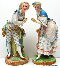 "2 15"" Bisque Porcelain Colonial Figurines W Vion Baury Green Anchor Marks"