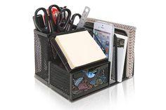 MyGift Metal Mesh Office Supplies Storage Rack