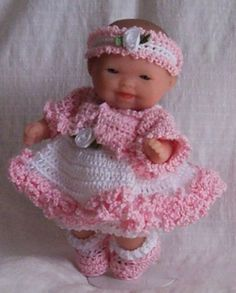 "Hand Crochet 5"" Berenguer Itty Bitty Baby Doll Clothes Sundress Jacket Pink NEW"
