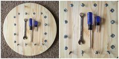 DIY Bolt board for the kid that loves to play with screw drivers!